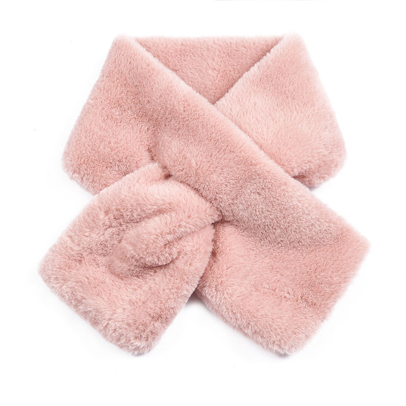 Winter Warm Scarf Thicken  Fashion Cute Imitation Rabbit Fur Collar Cross Scarf Solid Color Plush Shawl Scarf Christmas Women