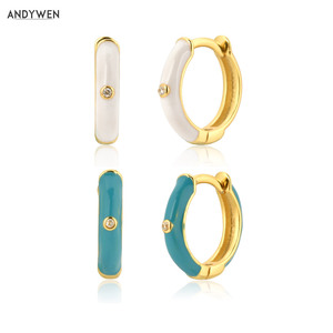 ANDYWEN 925 Sterling Silver White Turquoise Enamels Hoops 8.5mm Circle Huggies Luxury Piercing Ohrringe Women Fashion Jewelry