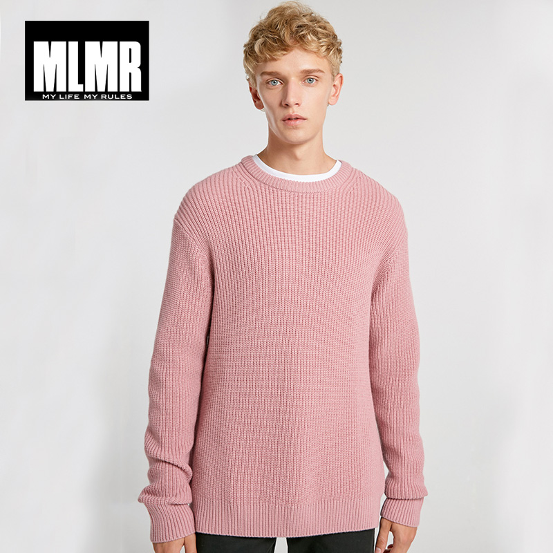 MLMR Mens Solid Color Round Neck Pullover College Style Winter Sweater | 218425502