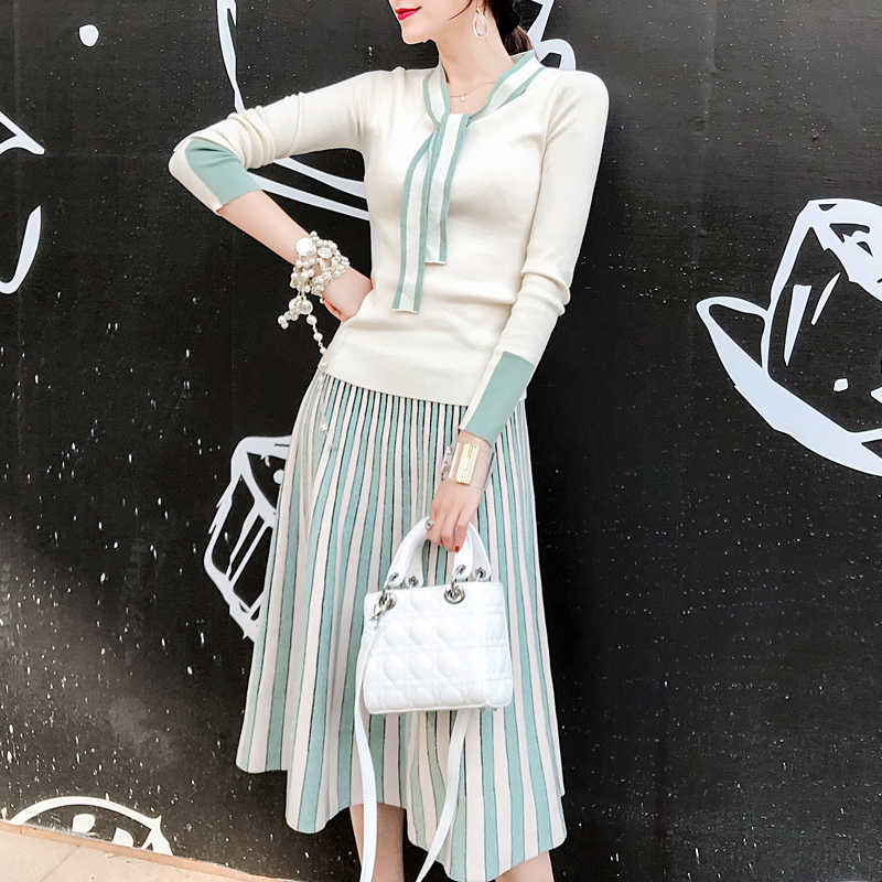 2019 Fall Winter New Bow Knot tie up Long Sleeve Pullovers Top + Shiny Striped Contrast Pleated Mid Skirt 2 Piece Sweater Sets