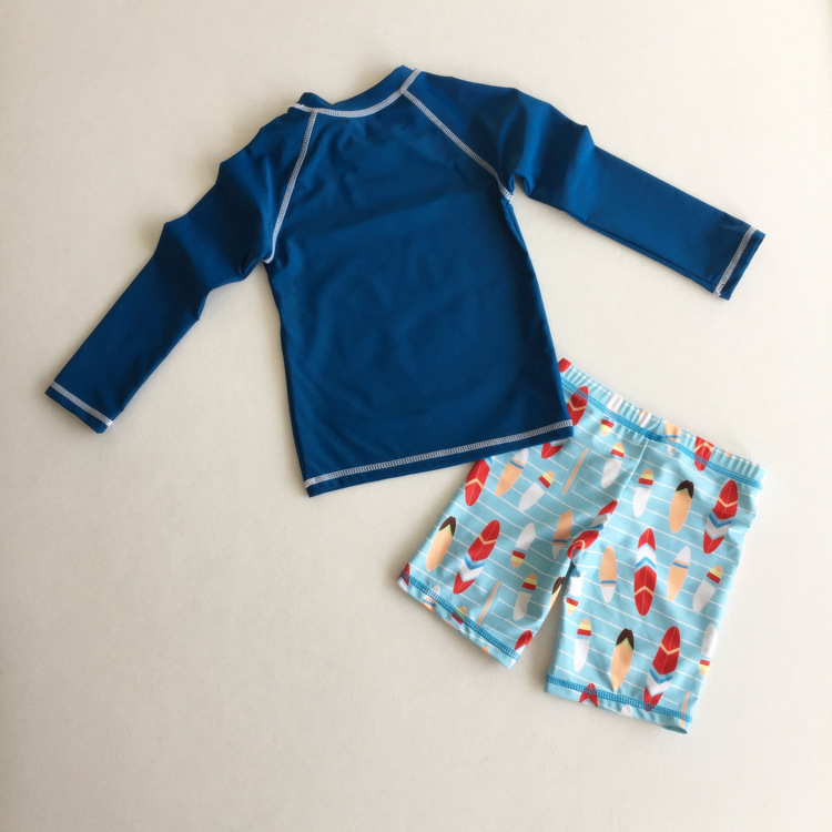 Split Type Long Sleeve KID'S Swimwear Thick Swimming Trunks Export Sun-resistant Warm BOY'S Quick-Dry Chinlon Child Hot Springs