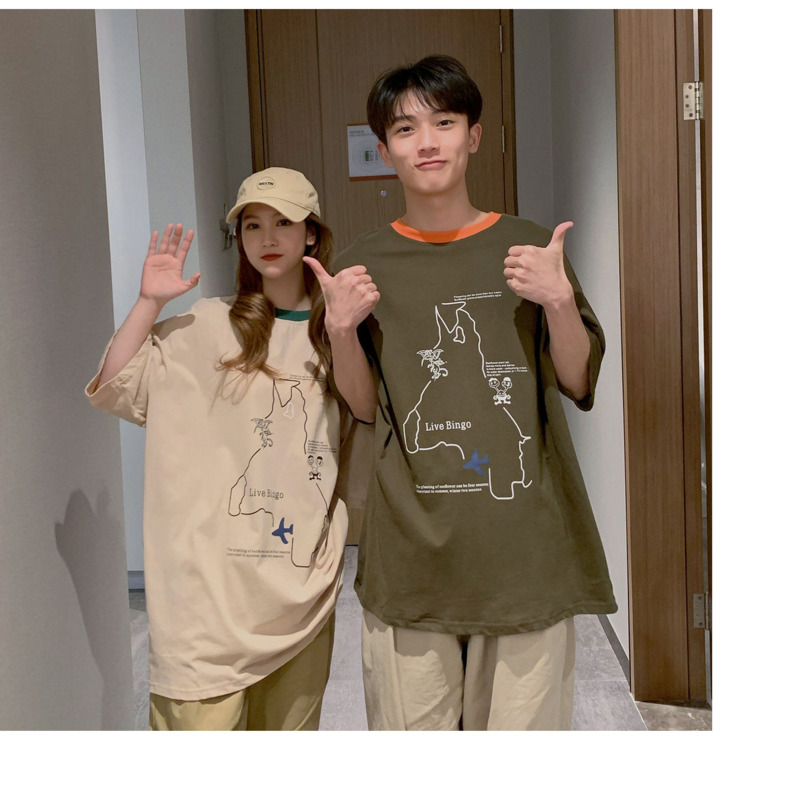 Men's T-shirt 2020 summer new slim and color contrast cartoon printing T-shirt loose casual crew neck fashion youth men's wear