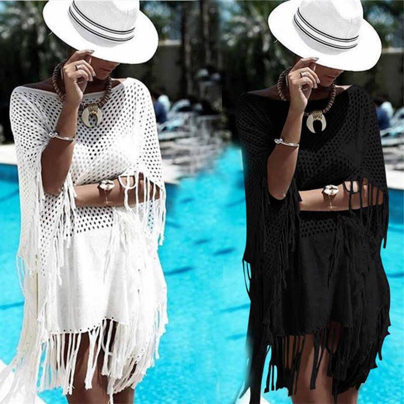 2019 مهدب الصيف النساء ملابس الشاطئ لباس سباحة التستر حمام فستان مثير الأبيض الكروشيه تونك بيكيني التفاف الغطاء-ups Sarongs # Q483