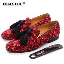 Męskie Tassel mokasyny cekiny obuwie brytyjski styl Gentleman suknia ślubna buty czerwone oddychające mężczyźni Party kolacja formalne buty