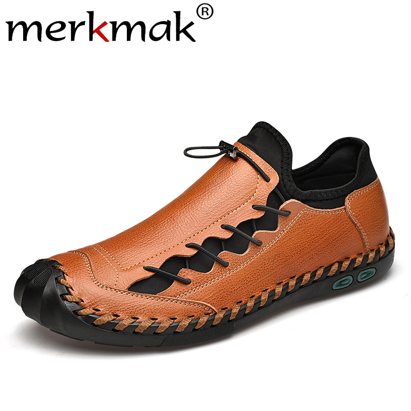 Merkmak Round Toe Men Shoes Fashion Lace-up Leather Casual Shoes Breathable Driving Footwear Genuine Leather Big Size Male Flats