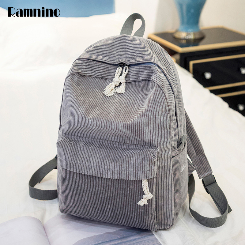 Women Backpack Contracted Style School Bags Soft Fabric Travel Backpack Corduroy Bookbag For Teenage Girls Striped Small Mochila