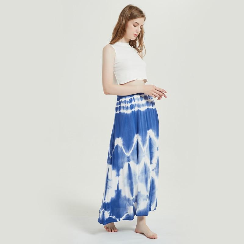 2020New kadın kravat boya baskılı plaj Maxi etek merhaba bel elastik Spandex kemer giyim bayanlar gevşek elbise genç mayo takım elbise