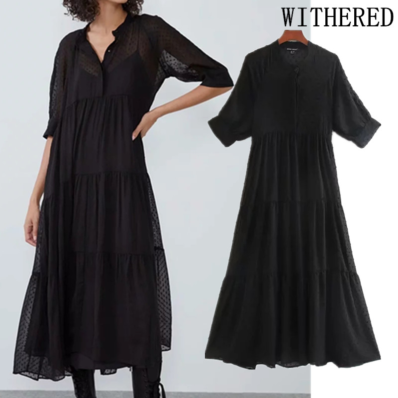 Withered England Elegant Dot Flocking Gauze Party Midi Dress Women Vestidos De Fiesta De Noche Vestidos Maxi Dress Women Blazer