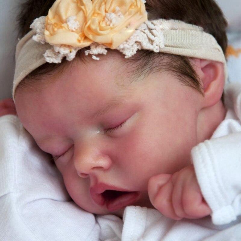 Полностью силиконовая виниловая Реалистичная кукла реборн Bebe Реалистичная Спящая девочка Bonecas новорожденные младенцы игрушка прекрасный ...