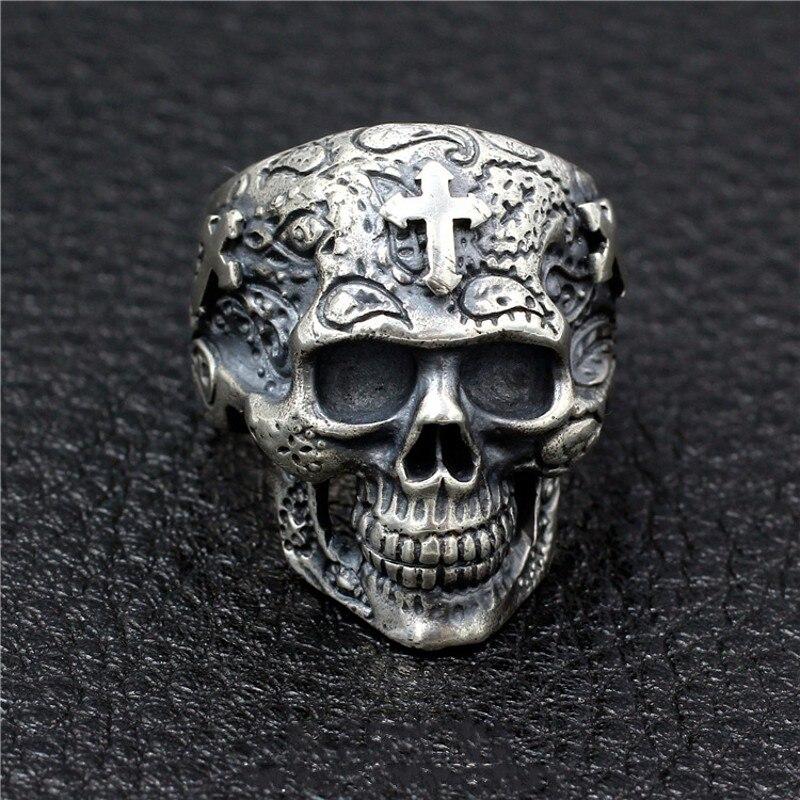 Réel 100% 925 argent Sterling crâne anneau homme Thai argent hommes anneau à la main croix fantôme tête mâles modèles dominateurs cadeaux