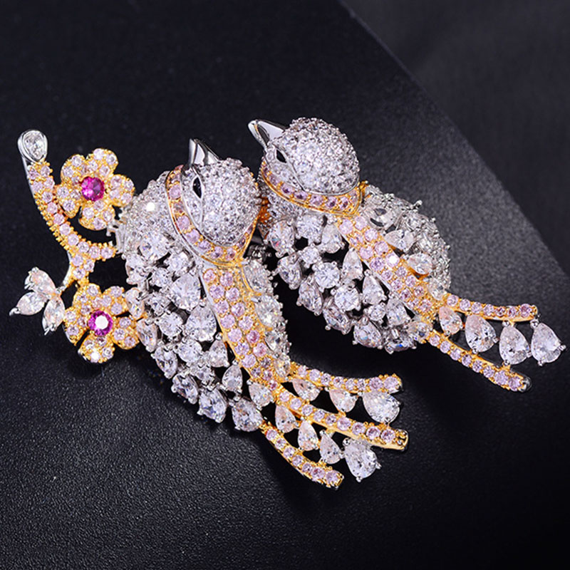 Fashion White Gold Plated Rhinestone Lucky Bird Brooch Pins Women Lady Jewelry