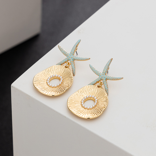 Jaeeyin 2021 New Arrival Bohemia Blue Enamel Ocean Starfish Conch Shell Stud Earrings Gold Color Jewelry Gift For Girls Children 4
