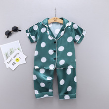 Toddler Pajamas Girl Short-Sleeved Children's Summer Boy Spring Home Trousers Tops Ice-Silk