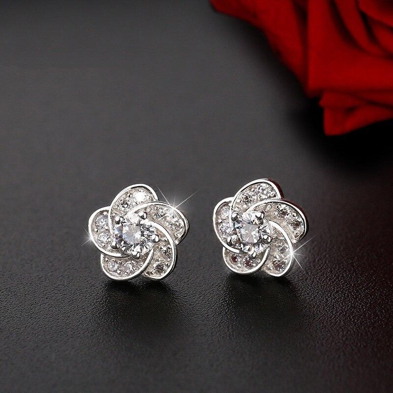 925 Sterling Silver Piercing Flower Christmas Stud Earrings For Women Accessories Pendientes Girls Earrings Eh1315