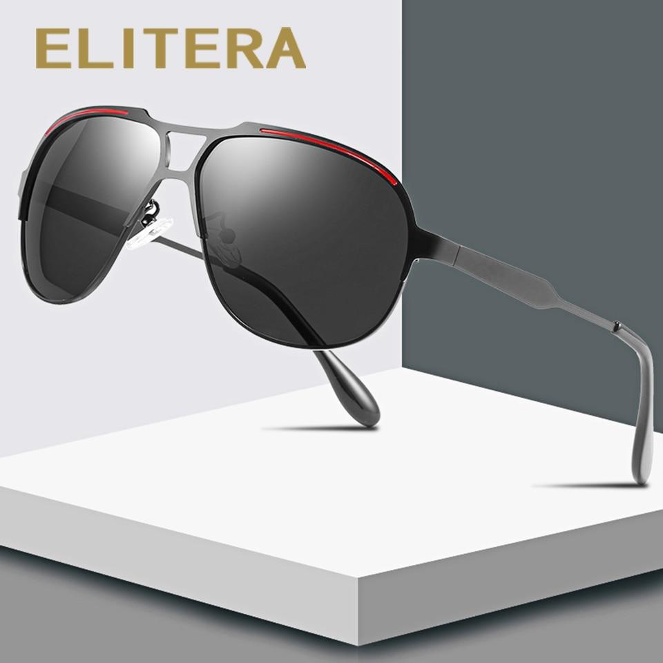 ELITERA Brand Design Men Polarized Sunglasses Metal Men's Sun Glasses Driving Square Shades UV400 Male Eyewear Goggle