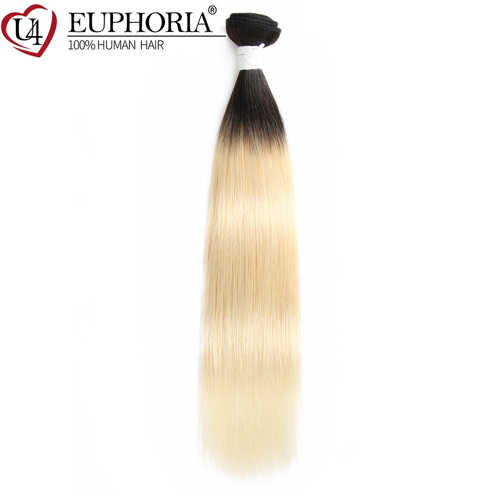 Blonde Black Ombre Color Hair Weave Bundles 8-26inch EUPHORIA Brazilian Straight 100% Human Hair Weaves Remy Weaving Extensions