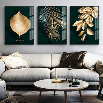 Nordic Modern Luxury Canvas Painting Leaf Plant Picture Home Decor Wall Art Minimalist Posters and Prints for Bedroom Painting black white palm tree leaves canvas posters and prints minimalist painting wall art decorative picture nordic style home decor