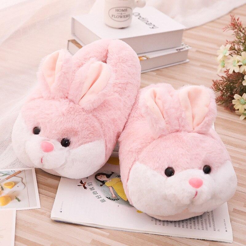 Rabbit Head Slippers Childrens Plush Novelty Bunny