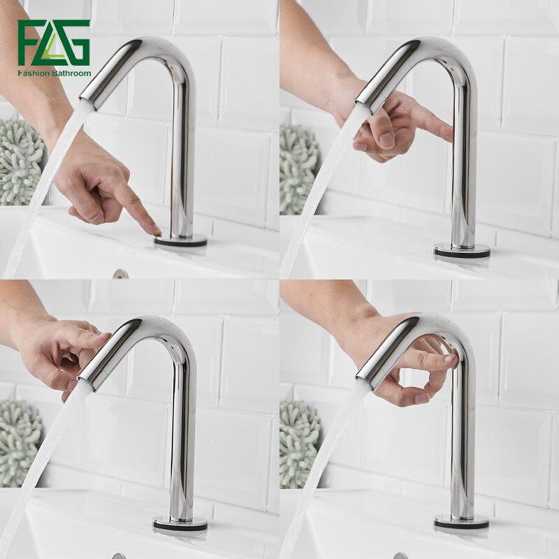 FLG tactile capteur sensible salle de bains robinet Smart Touch bassin robinets en acier inoxydable nouveau Design tactile contrôle mélangeur robinet