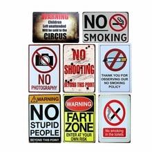 Aviso de No fumar cartel de metal vintage hojalata decoración café Pub placa de pared Retro Decoración del hogar 20x30cm