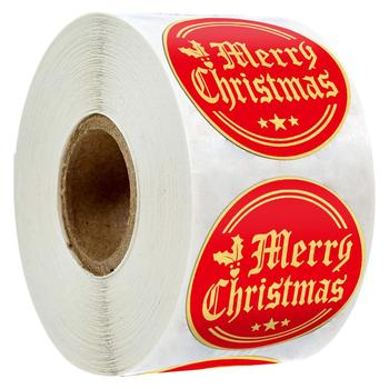 500pcs/roll Merry Christmas Labels Red Paper Sticker for Kids Gift Box Package Card Decoration 1 inch Circle