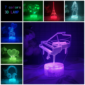 Musical instruments series Gift lamp 3D Night light Colorful touch LED lamp Small table lamp Bedside lamp Originality Decorative bedroom study 3d light night light festival usb small table lamp originality acrylic atmosphere lamp gift decorate bedside lamp