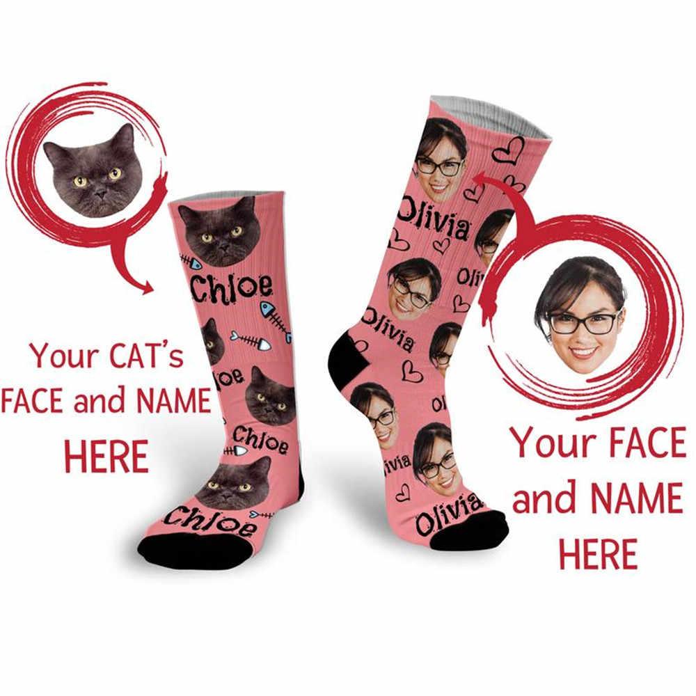Персонализированные носки с изображением головы питомца для мамы кошки