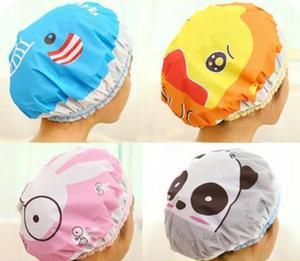 Cute cartoon shower bath cap women hat for baths and saunas lace elastic band cap spa cap women kids hair protective cap(China)