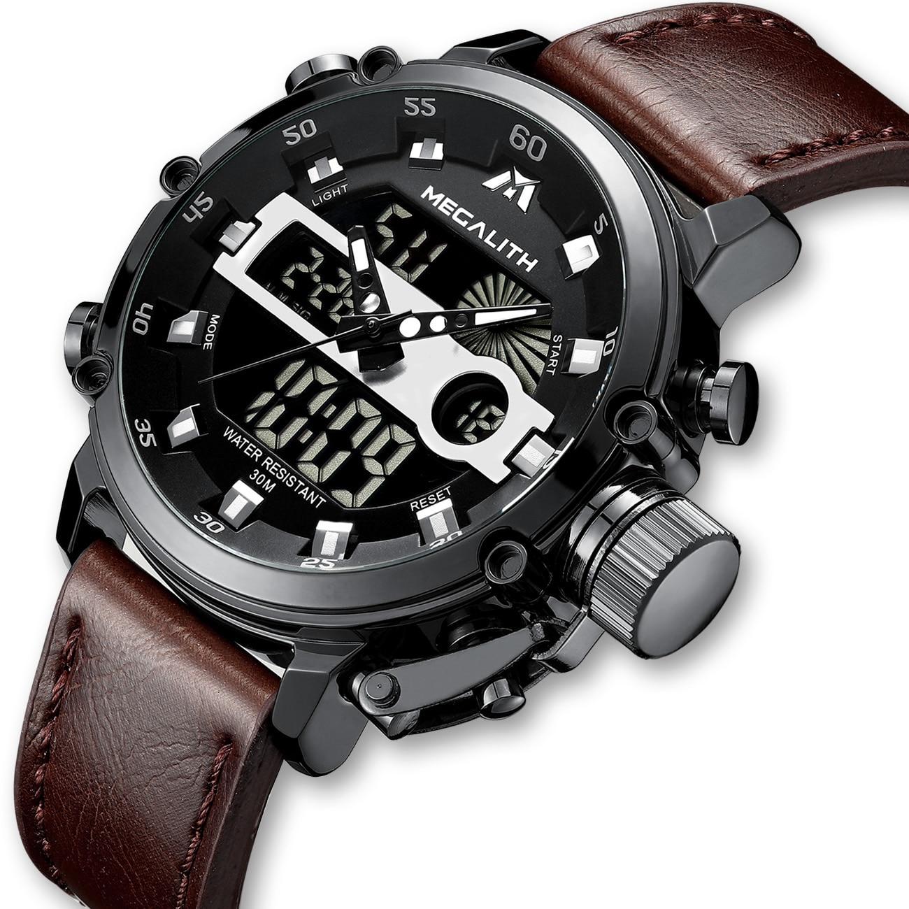 MEGALITH Fashion Men's LED Quartz Watch Men Military Waterproof Watch Sport Multifunction Wrist Watch Men Clock Horloges Mannen