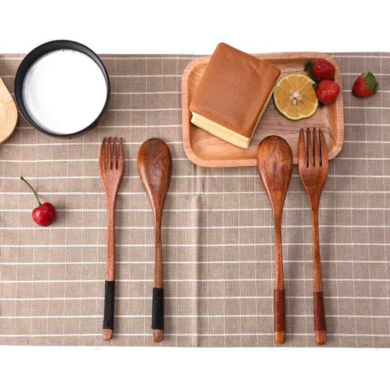 2PC Western Tableware Kayu Sendok Garpu Hidangan Penutup Set dengan Gaya Retro Vintage Buah Melayani Anak-anak Makanan Utensi Sendok Supply Peralatan Makan
