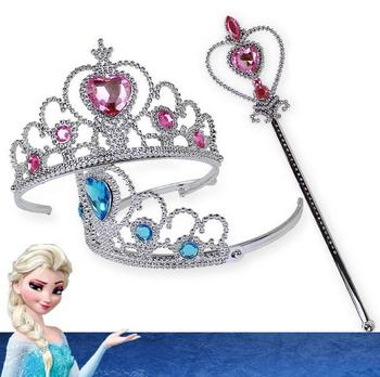 JKC Hot sale Frozen Crown Princess Hair Accessories Bridal Crown Crystal Tiara Hoop Headband Hair Bands For Kids Christmas Gift image