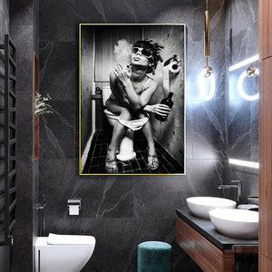 Toilet Sexy Woman Bar Girl Smoking And Drinking Canvas Painting Posters and Prints Cuadros Wall Art for Living Room Home Decor