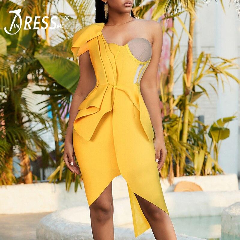 INDRESSME 2020 New Fashion One Shoulder Sleeveless Pleated Mesh Asymmetrical Dress Women Sexy Party Vestidos