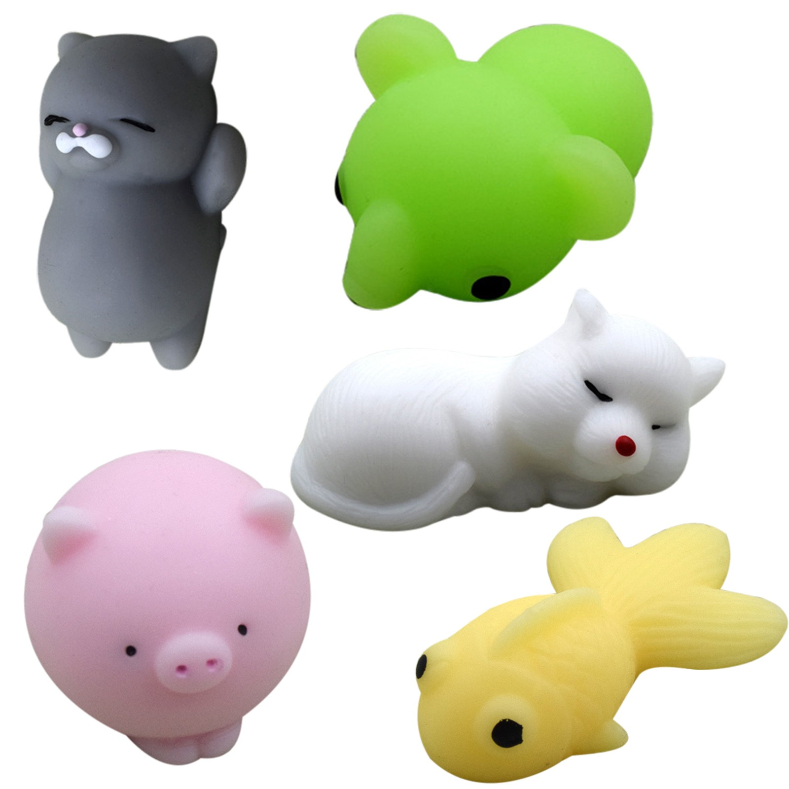 5/20pcs Pack Squishy Cat Mochi Antistress Squeeze Squish Cute Animal Toys Stress Relief img2