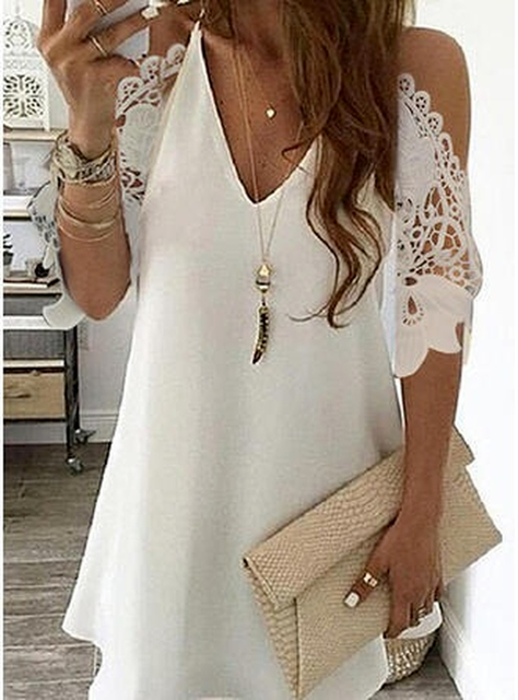 Women's Lace Splicing Dress V-neck Off Shoulder Sling Mini Dress Solid Color Casual  Hollow out Sleeve Dress 3