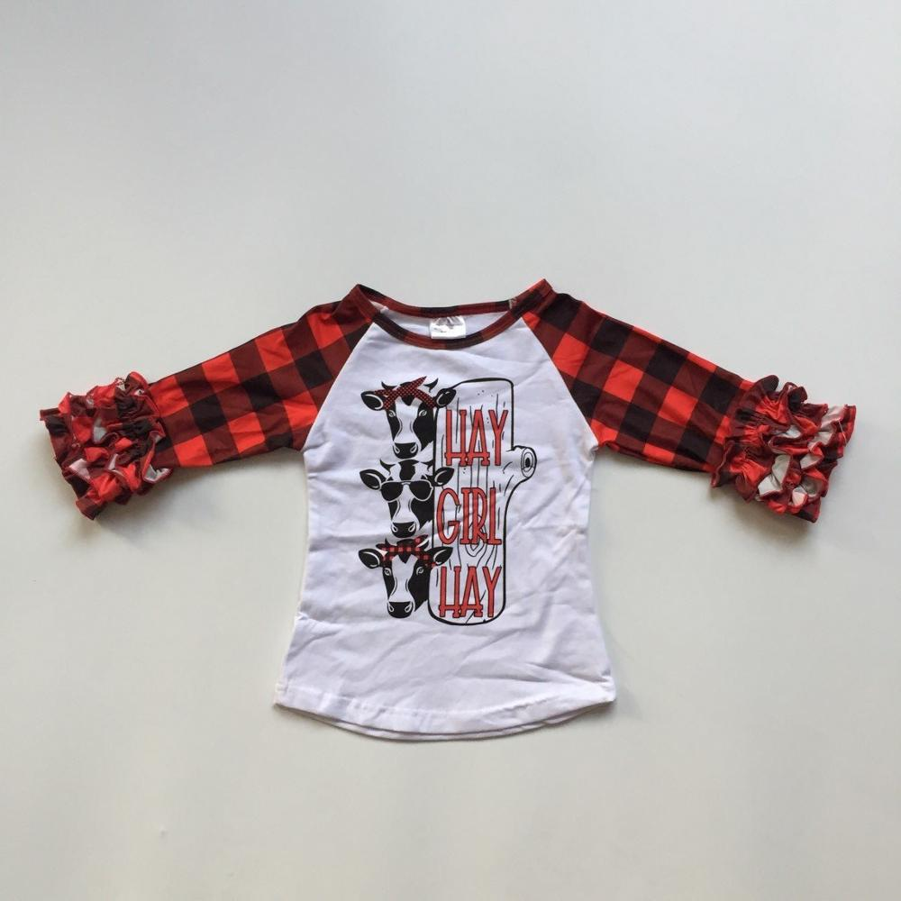 Raglans T-Shirt Children Clothes Plaid Boutique Ruffles Black Girl Winter/spring Icing-Sleeve