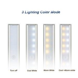 Image 2 - 3 צבע מצבים 20 LED אלחוטי PIR חיישן תנועת לילה אור תחת קבינט אור USB נטענת מגנטי מקל על הלילה אור
