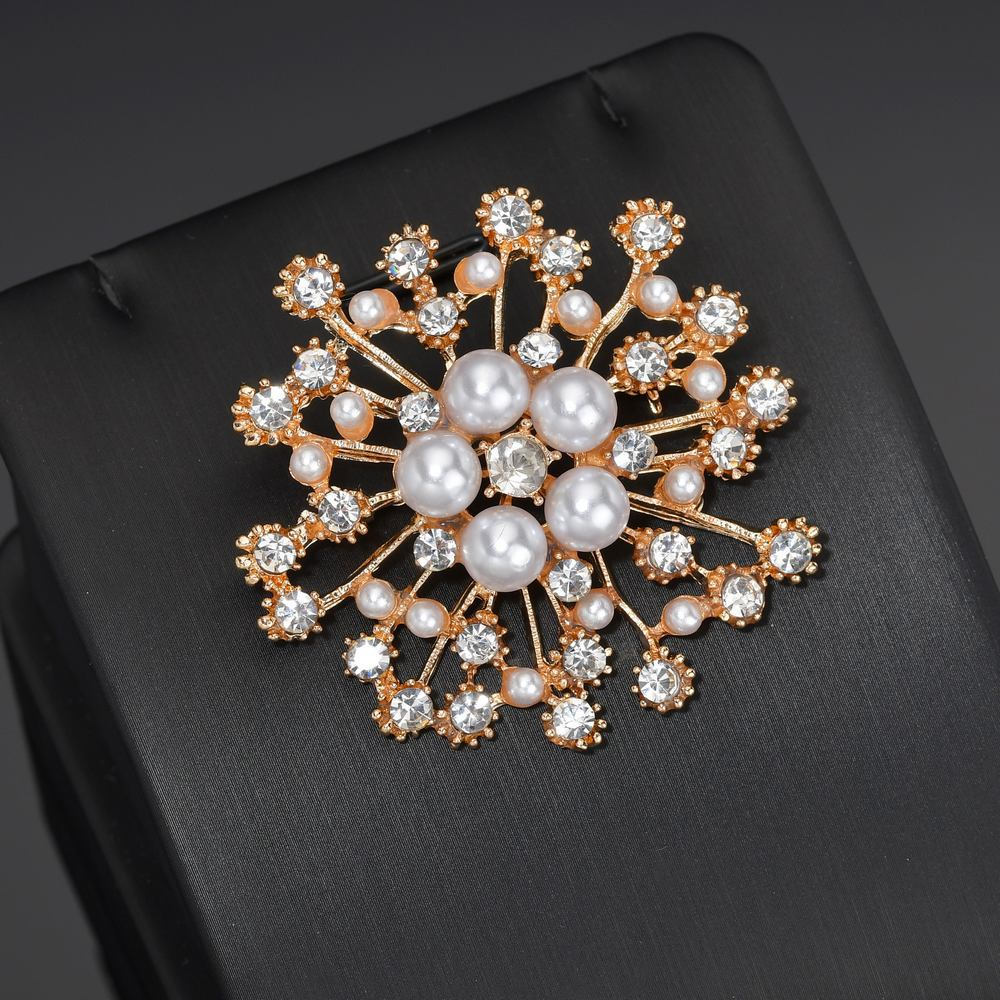 HelloMiss Fashion high-end handmade crystal flower big pearl brooch popular pin silk scarf buckle female clothing jewelry