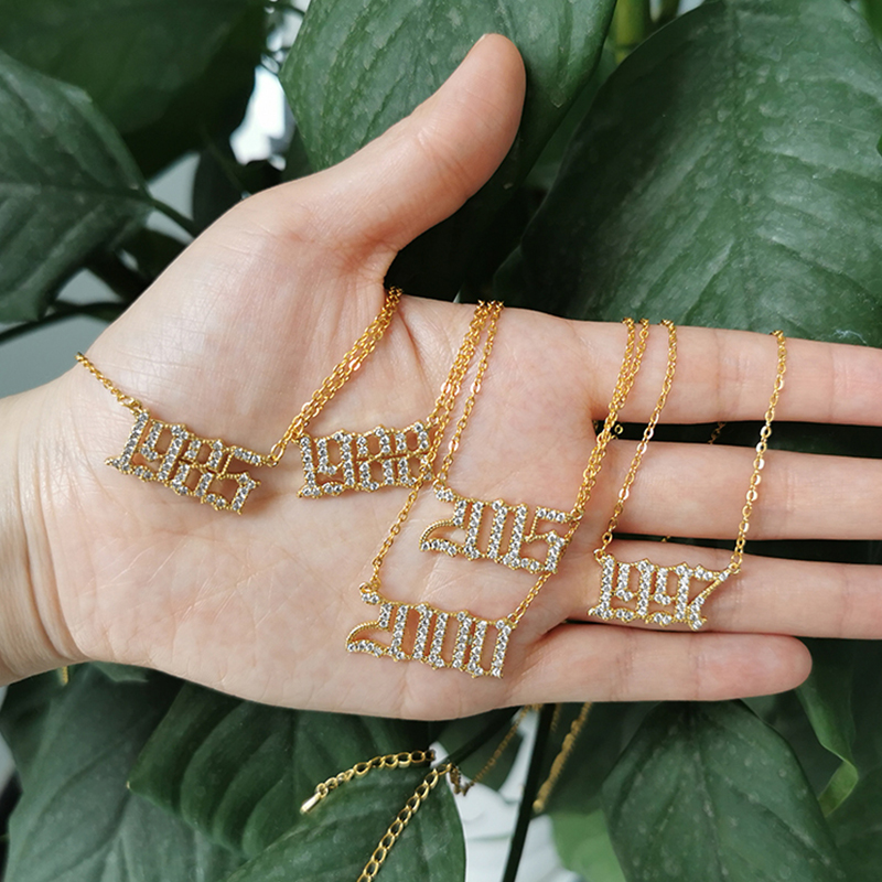 Crystal Letter Pendant Necklace For Women Zircon Birth Year Necklace Gold Chain 1996 1997 Initial Necklace Choker Jewelry Gift