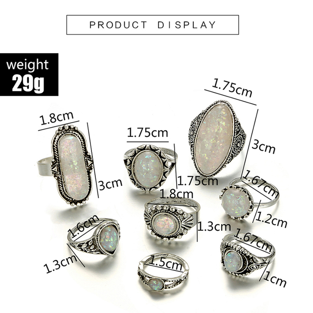 Tocona Vintage Antique Silver Color Rings Sets Colorful Opal Crystal Stone Carve for Women Men Bohemian Jewelry Anillos 6421 2