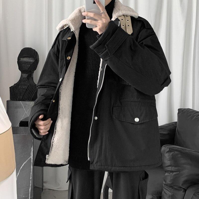 Зимняя новая утолщенная куртка из овечьей шерсти, Мужская теплая модная куртка с отворотом, Мужская Уличная свободная хлопковая куртка с несколькими карманами