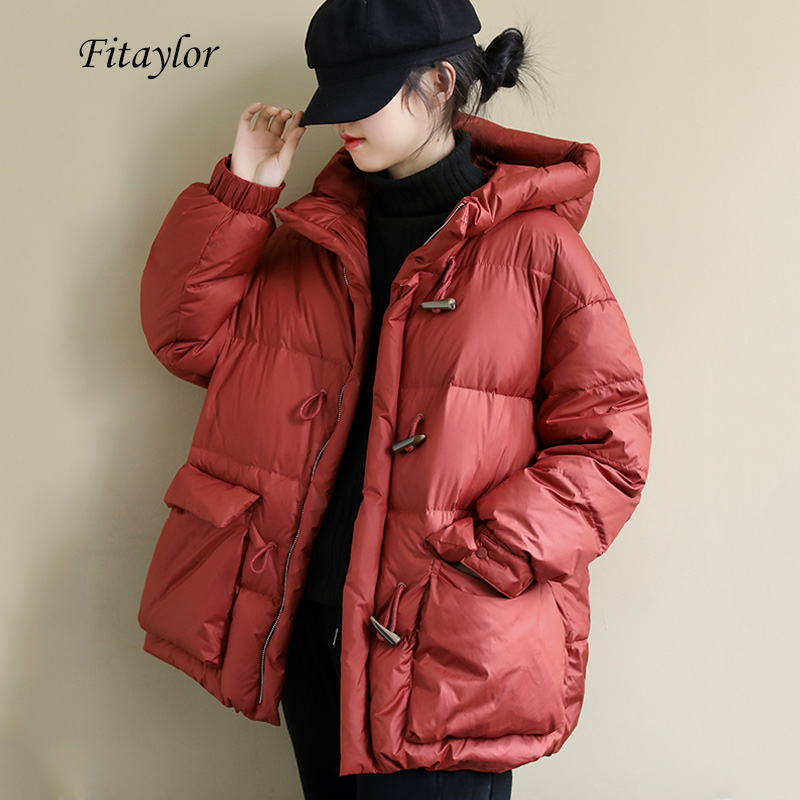 Fitaylor New Winter 90% White Duck Down Parka Hooded Horn Button Loose Bread Down Jacket Thickness Warm Female Snow Overcoat