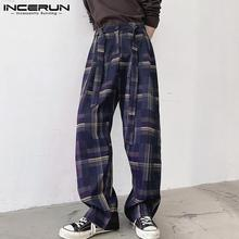Plaid Pants Drawstring Incerun Men Joggers-Pockets Straight Trousers Streetwear Loose