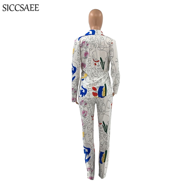 2021 Spring New Arrival Cartoon Printed Two Piece Set Blazer And Pants Sweat Suit Sexy Casual Clothing Long Sleeve Cardigan Sets