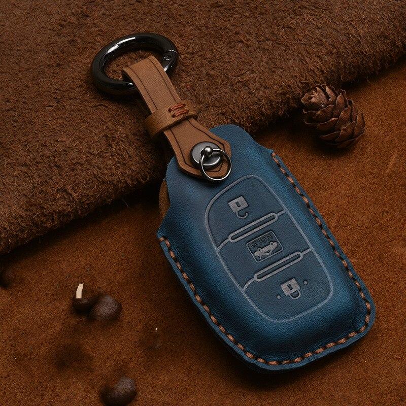 Leather Car Key Case Cover Protection Shell Skin For Hyundai iX20 I30 IX35 I40 Ix25 Tucson Verna Sonata Car Keyring