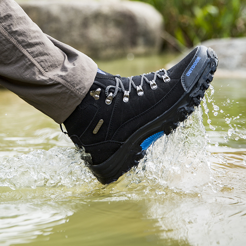 Мужские треккинговые ботинки, водонепроницаемые мужские уличные туристические треккинговые ботинки, кожаные горные ботинки для альпинизм...