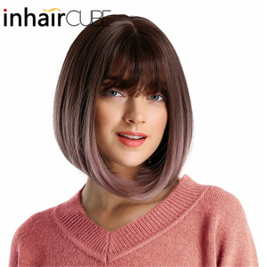 Image 2 - Inhair Cube 10 Inches Bob Synthetic Flat Bangs Women Wig Ombre with Highlight Short Straight Hair Wig  Cosplay Hairstyle