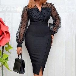 Sexy Elegant Office Dress Women Fashion Polka Dot Black Vintage Bodycon Midi Dresses Mesh Sleeve Party Club Vestidos Summer 2XL