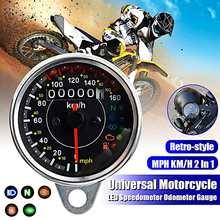 12V Retro Motorräder Universal Edelstahl Mechanische Kilometerzähler MPH/KMH Motorrad Teile LED Indikator Dashboard
