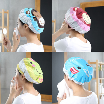 Cute cartoon shower cap women hat for baths and saunas lace with elastic band spa cap for women and children Protective cap